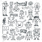 Wacky crazy doodles set 2. Vector illustration. Hand drawn.