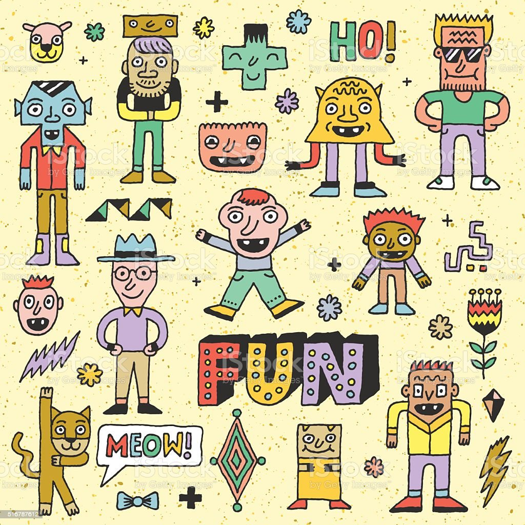 Wacky Funny Fantastic Doodle Characters Set 2. vector art illustration