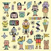 Wacky Funny Fantastic Doodle Characters Set 4.
