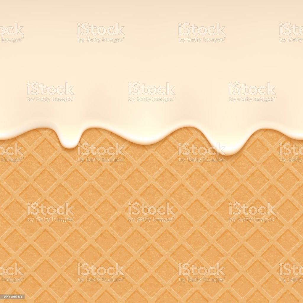 Wafer and flowing cream - vector background. vector art illustration