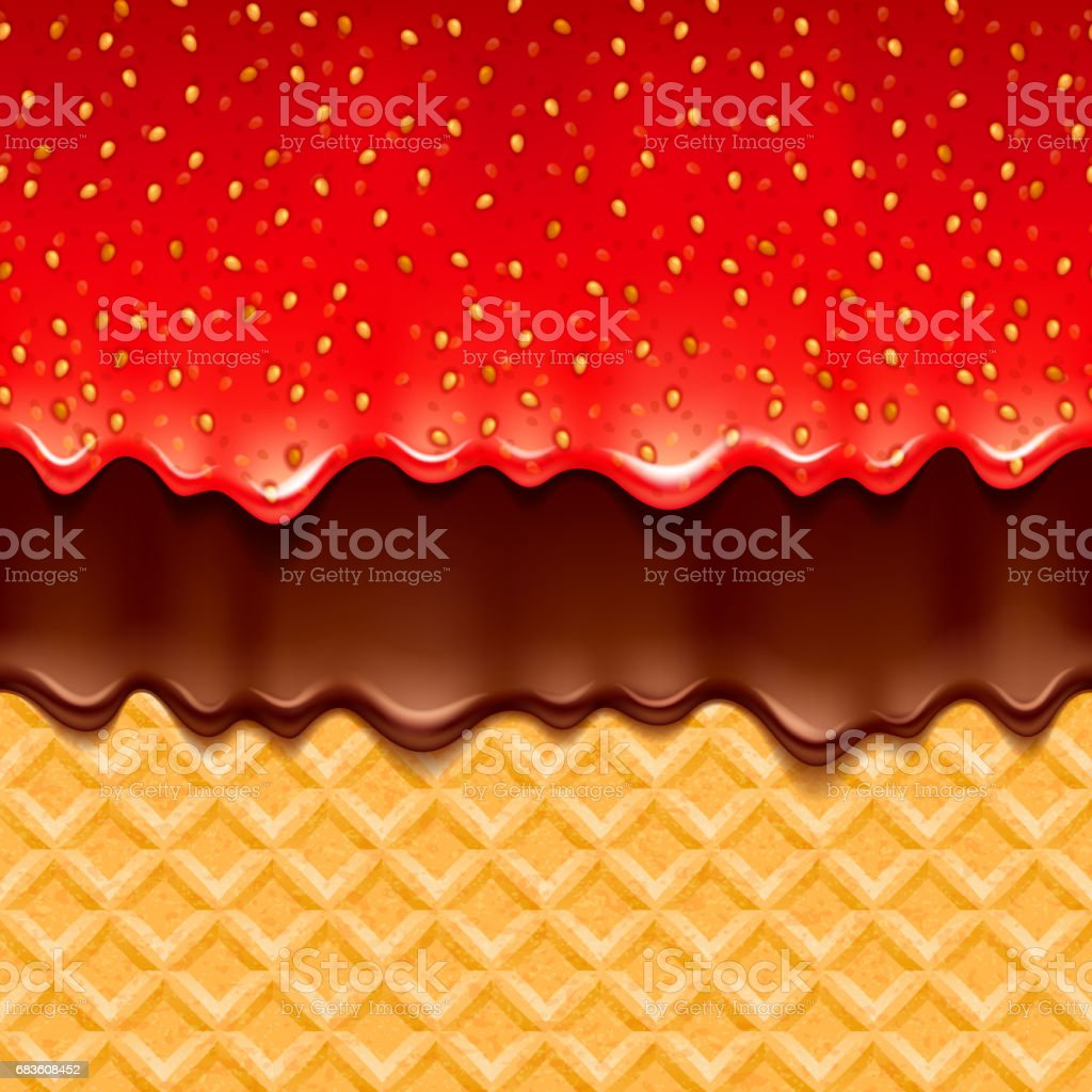 Wafer and strawberry jam and chocolate - vector background vector art illustration