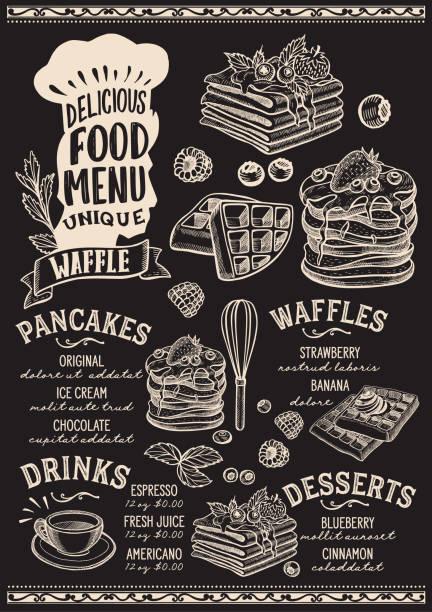bildbanksillustrationer, clip art samt tecknat material och ikoner med våffla och pannkaka mat menymall för restaurang med kockar hatt bokstäver. - crepe
