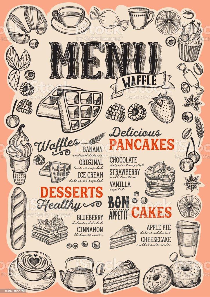Waffeln und Pfannkuchen Speisekarte für Restaurant mit Rahmen aus handgezeichneten Obst und Süßigkeiten. – Vektorgrafik