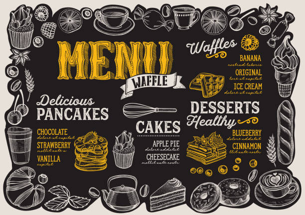 Waffle and pancake menu for restaurant with frame of hand-drawn fruits and sweets. Waffle and pancake menu template for restaurant on a blackboard background vector illustration brochure for food and drink cafe. Design layout with vintage lettering and frame of hand-drawn fruits and sweets. bread borders stock illustrations