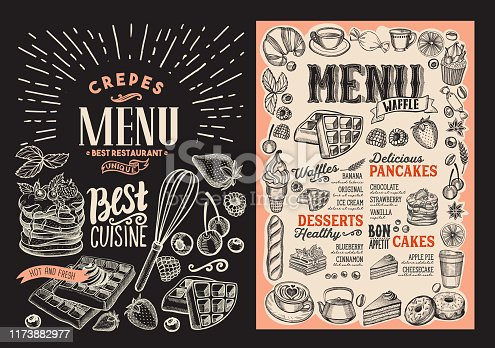 istock Waffle and pancake menu for restaurant with frame of hand-drawn fruits and sweets. 1173882977