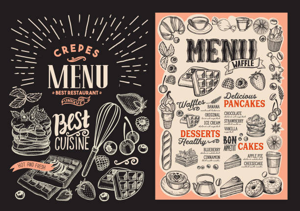Waffle and pancake menu for restaurant with frame of hand-drawn fruits and sweets. Waffle and pancake menu template for restaurant on background vector illustration brochure for food and drink cafe. Design layout with vintage lettering and doodle hand-drawn graphic icons. cooking borders stock illustrations