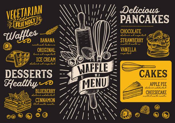 bildbanksillustrationer, clip art samt tecknat material och ikoner med våffla och pannkaka menyn mall för restaurang med doodle handritade grafik. - crepe