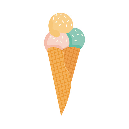 A waffle cone with various fruit ice cream scoops. Green, yellow and pink gelato or sorbet. Vector illustration in flat cartoon style isolated on white.
