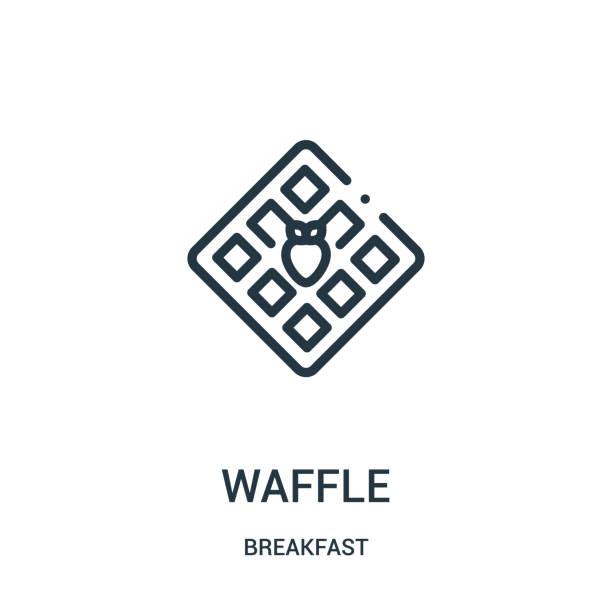朝食コレクションからのワッフルのアイコンベクトル。細線のワッフルアウトラインアイコンベクトルイラスト. - ワッフル点のイラスト素材/クリップアート素材/マンガ素材/アイコン素材