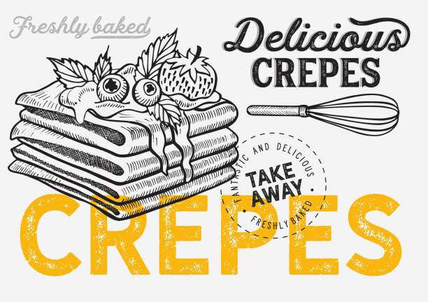 bildbanksillustrationer, clip art samt tecknat material och ikoner med våffla, pann kaka, crepe illustration för bageri. - crepe