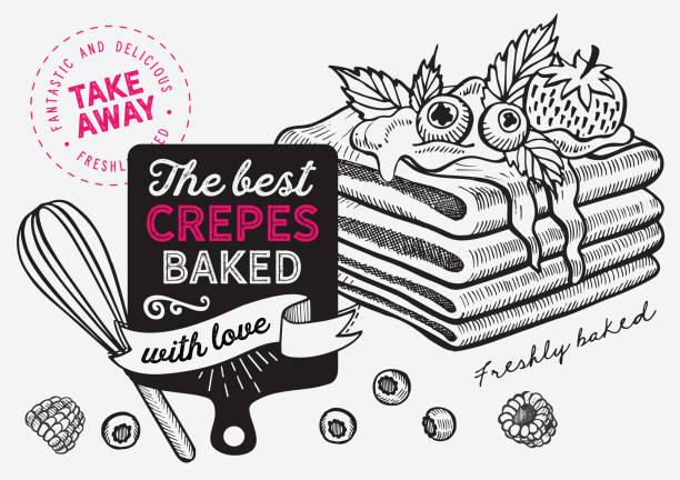 bildbanksillustrationer, clip art samt tecknat material och ikoner med våffla, pann kaka, crepe illustration för restaurang på vintage bakgrund. vector handritade dessert ikoner för mat café och bageri. design med bokstäver och doodle grafiska frukter. - crepe