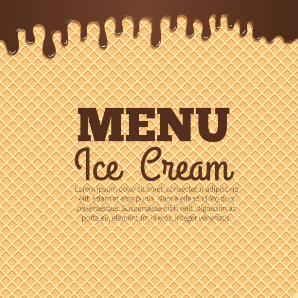 Waffle texture background for cafe menu design Chocolate ice cream flowing over waffle texture background with text layout in the center. Cafe menu, ice cream dessert poster, food packaging design cake patterns stock illustrations