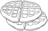 waffle top view vector illustration