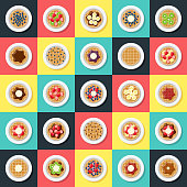 A set of waffles with different toppings icons. File is built in the CMYK color space for optimal printing. Color swatches are global so it's easy to edit and change the colors.