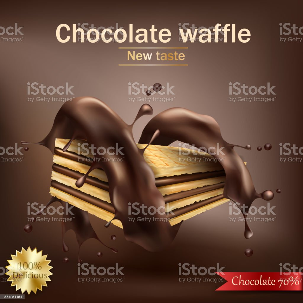 Waffle with chocolate filling wrapped in spiral melted chocolate vector art illustration