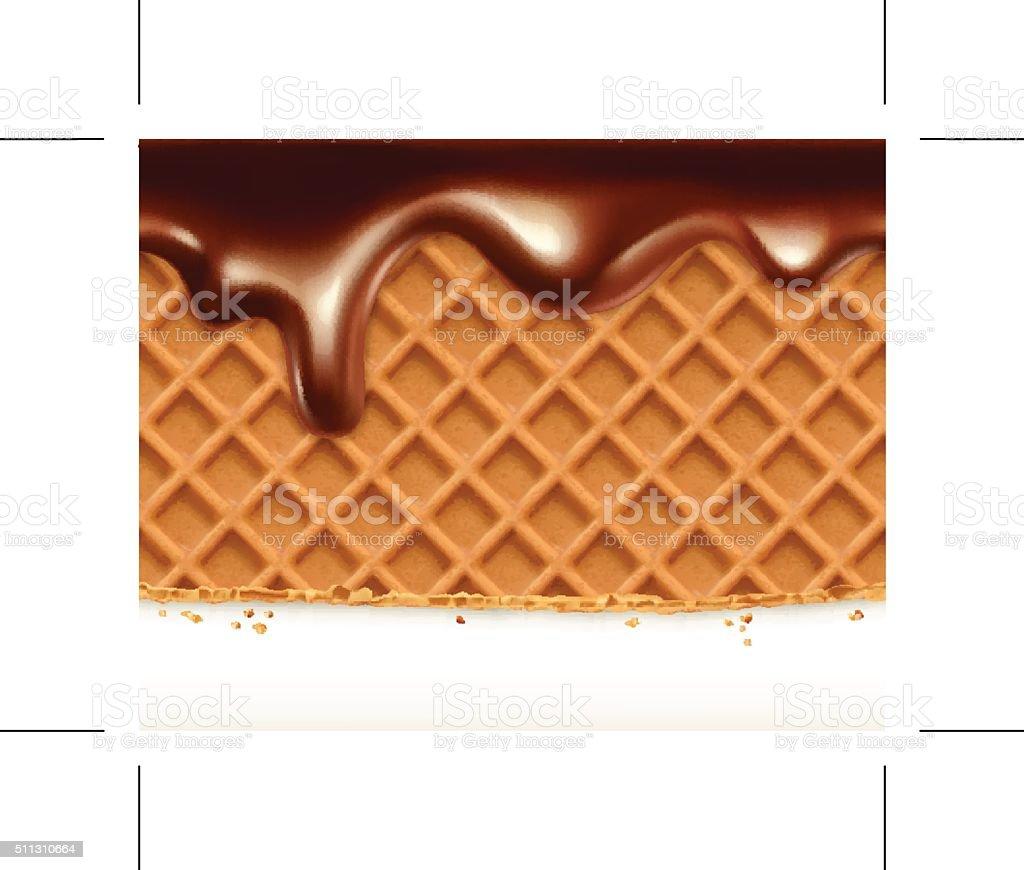 Waffles and chocolate, vector seamless horizontal pattern vector art illustration