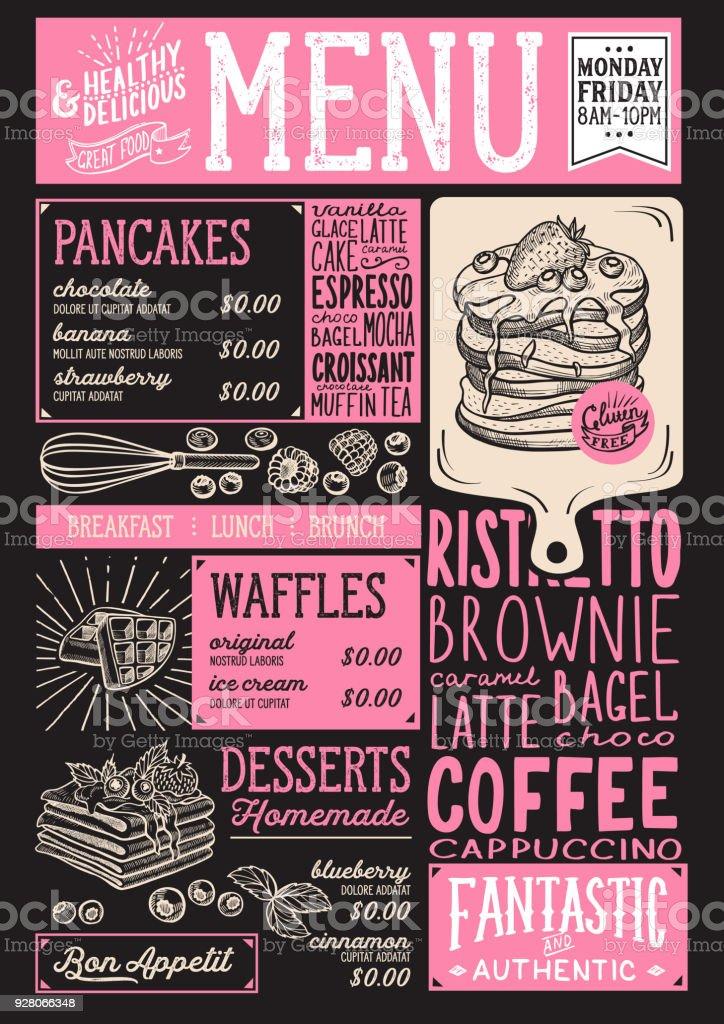 Waffles and crepes menu restaurant, food template. vector art illustration