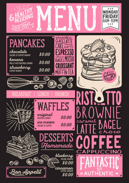 Waffles and crepes menu restaurant, food template. vector art illustration