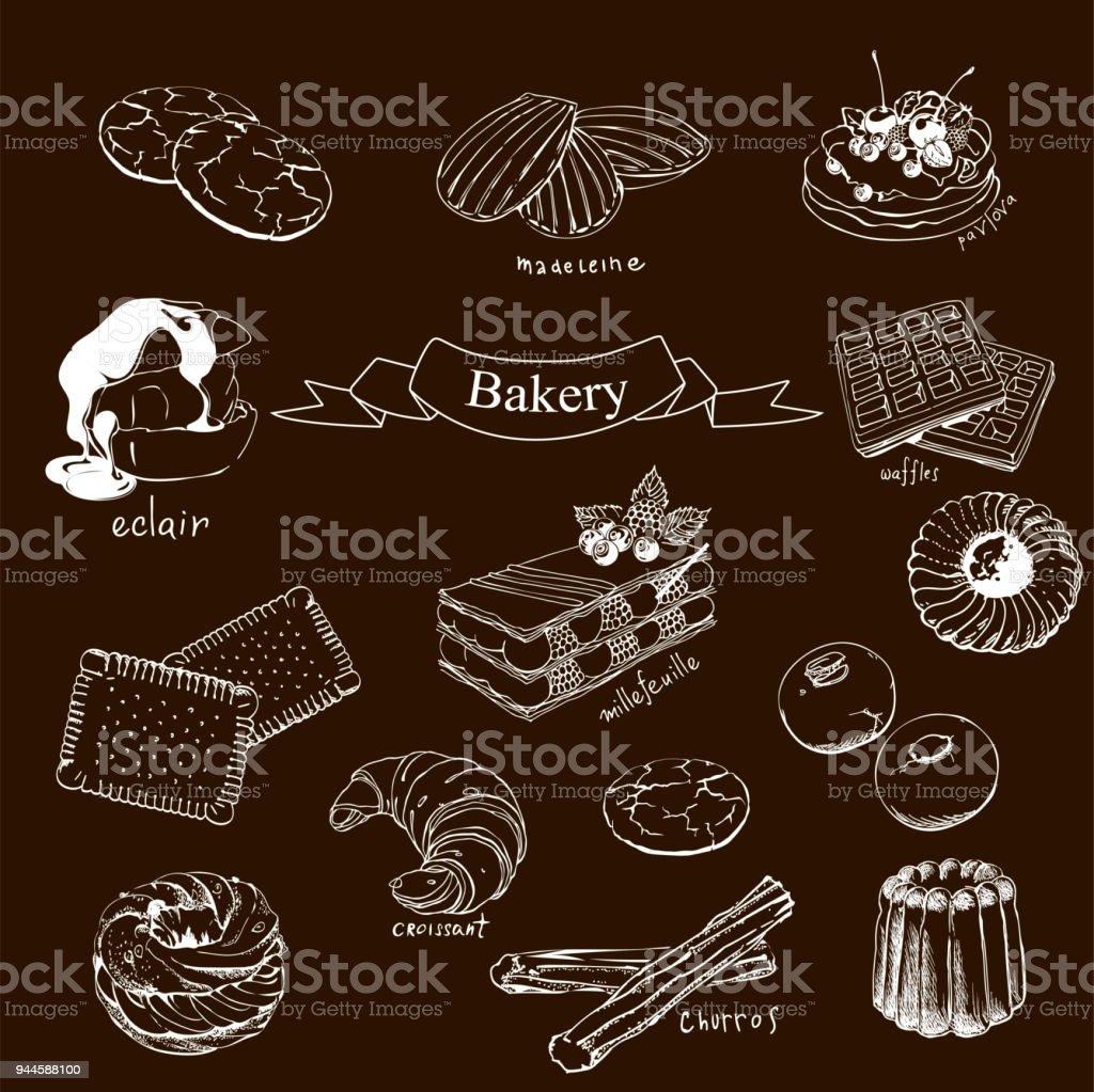 Waffles, Madeleine, Croissant, Petites sables, Canela , Churros, Paris Brest, Eclair, Pavlova vector art illustration