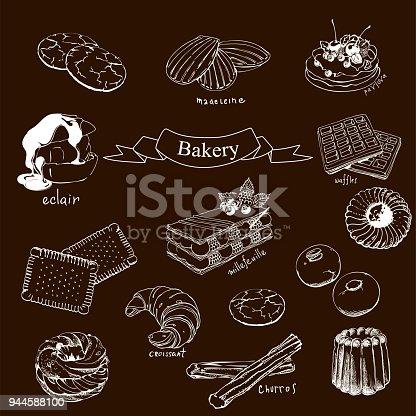 Ilustración de Waffles Madeleine Croissant Sables De Petites Canela ...