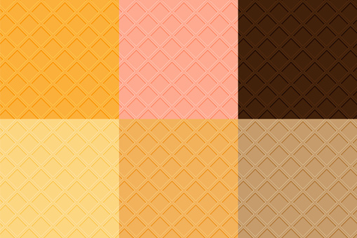 Waffles seamless texture collection. Chocolate, vanilla, strawberry and biscuit flavors.