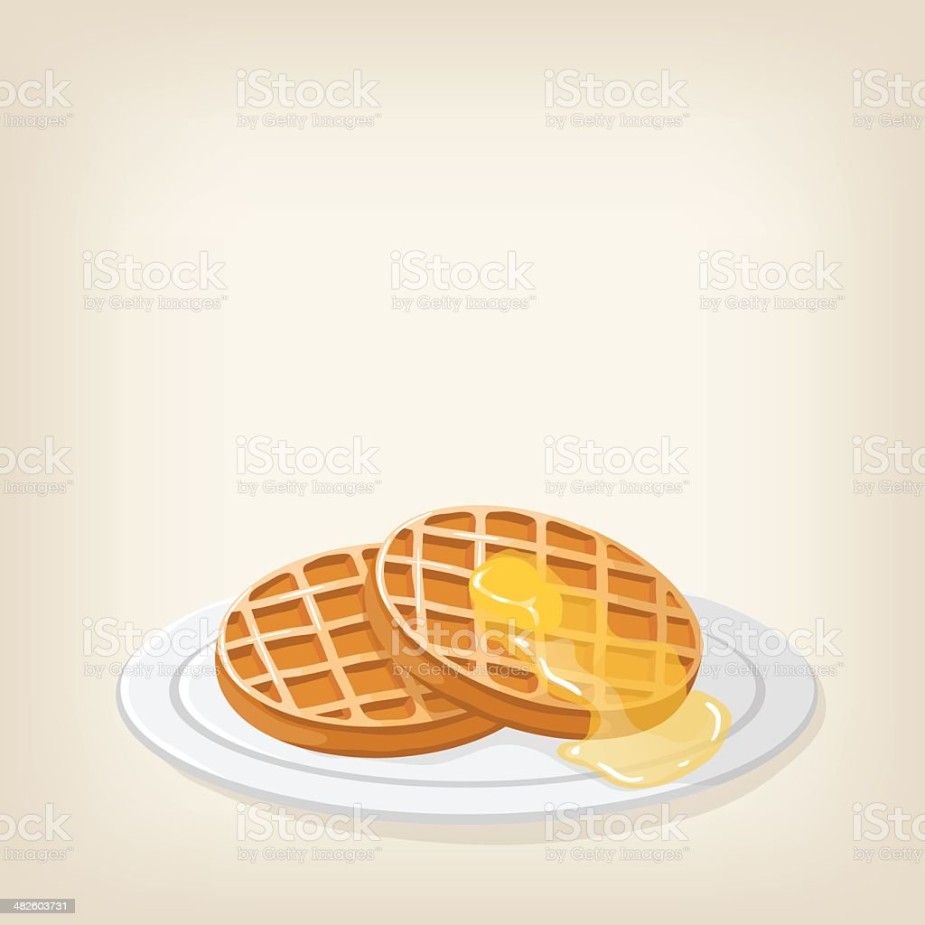 Waffles with syrup and butter vector art illustration