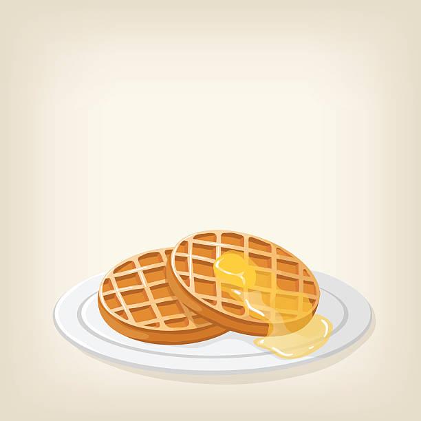 ワッフル、シロップとバター - ワッフル点のイラスト素材/クリップアート素材/マンガ素材/アイコン素材