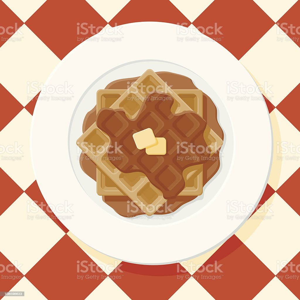 Waffles with Syrup vector art illustration