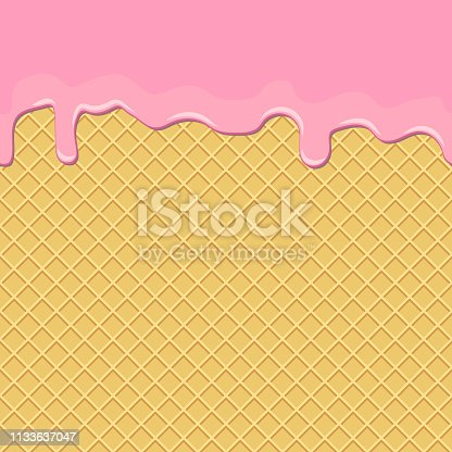 Seamless background. Waffles with the current sweet pink cream. Design for confectionery, ice cream. Vector illustration.