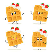 Waffles with whipped cream and strawberries. Cute fast food dessert vector character set isolated on white