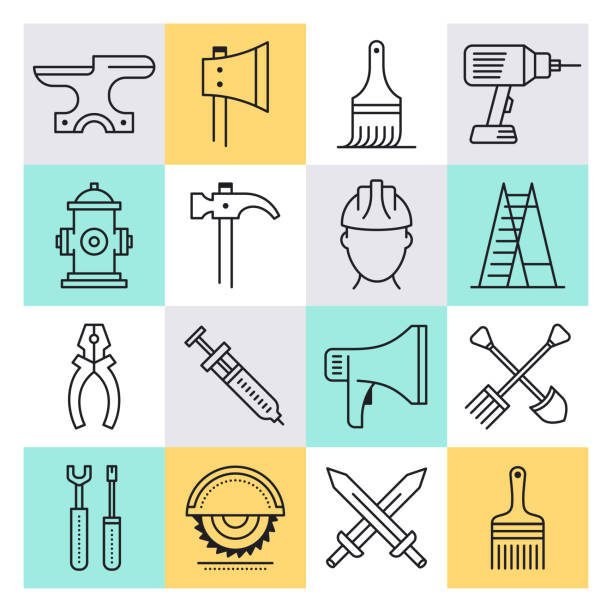 Wage Labour Production Outline Style Vector Icon Set Wage labour production outline style concept with symbols. Line vector icon sets for infographics and web designs. minimum wage stock illustrations