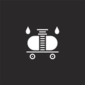 wagon icon. Filled wagon icon for website design and mobile, app development. wagon icon from filled gas station collection isolated on black background.