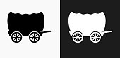 Wagon Icon on Black and White Vector Backgrounds. This vector illustration includes two variations of the icon one in black on a light background on the left and another version in white on a dark background positioned on the right. The vector icon is simple yet elegant and can be used in a variety of ways including website or mobile application icon. This royalty free image is 100% vector based and all design elements can be scaled to any size.
