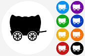 Wagon Icon on Flat Color Circle Buttons
