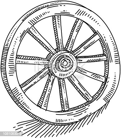 Line drawing of Wagon Wheel. Elements are grouped.contains eps10 and high resolution jpeg.