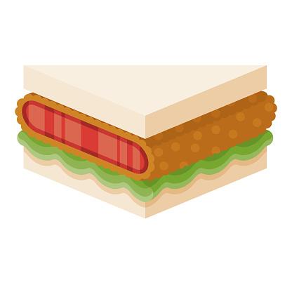 Wagyu Japanese Konbini Sandwich Icon on Transparent Background