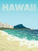 Poster of Waikiki beach of Oahu island, Hawaii, USA