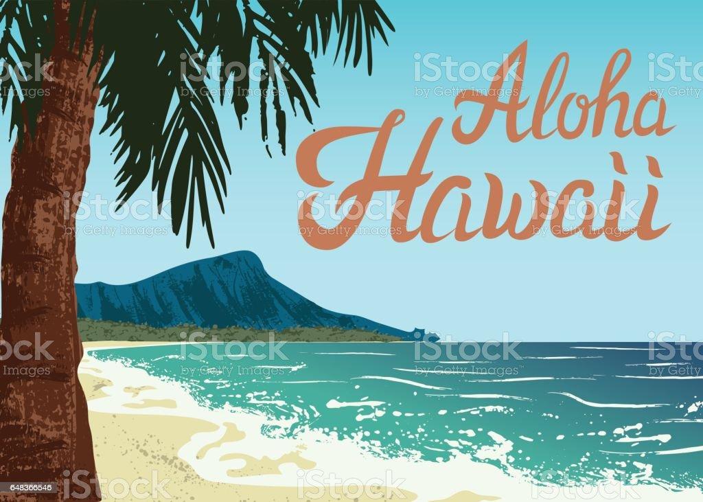 Waikiki beach of Oahu island vector art illustration