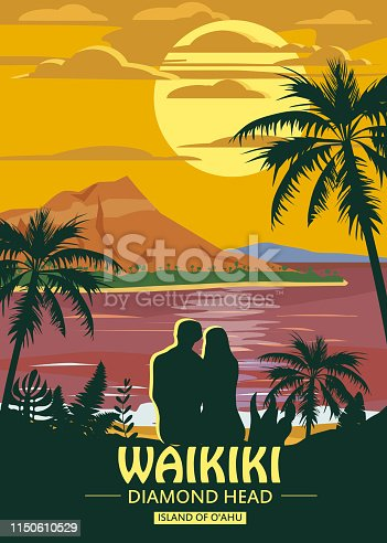 Waikiki island of O ahu Retro Vintage style travel poster or sticker