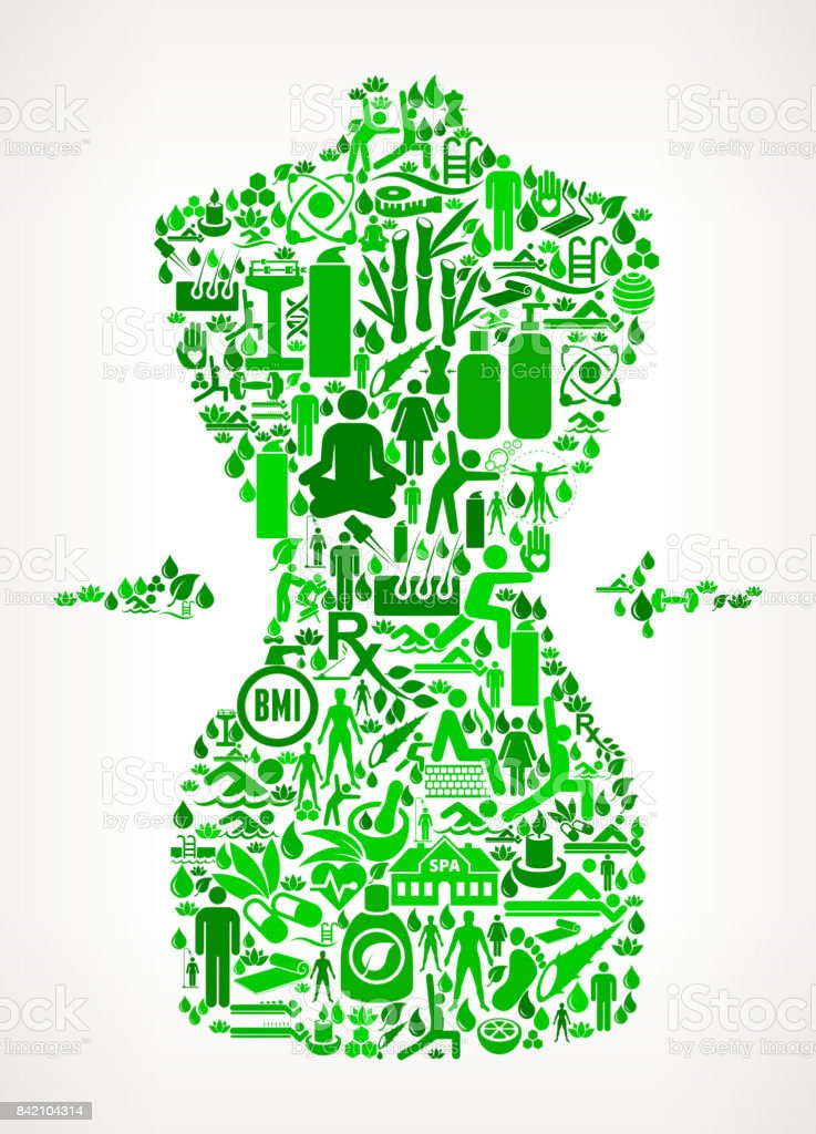 Waist  Health and Wellness Icon Set Background Pattern vector art illustration