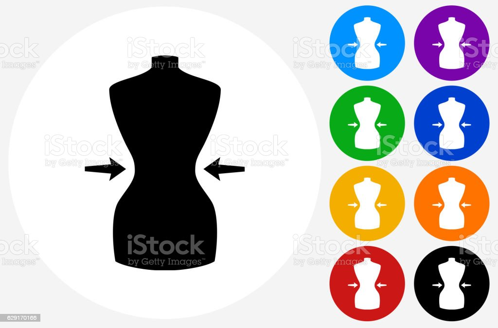 Waist Icon on Flat Color Circle Buttons vector art illustration