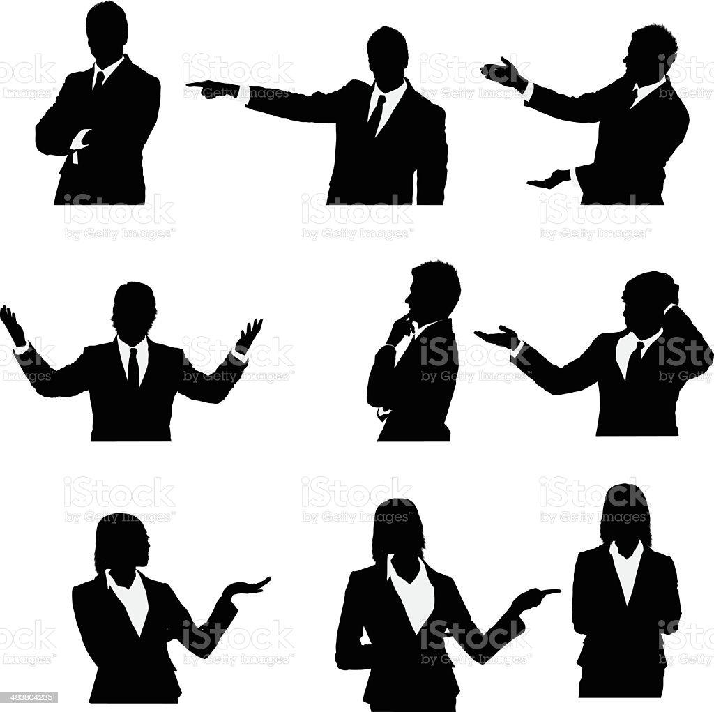 Oberkörperaufnahme Geschäftsleute präsentieren – Vektorgrafik