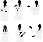 Waist up female doctor vector images