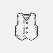 Waistcoat sketch icon