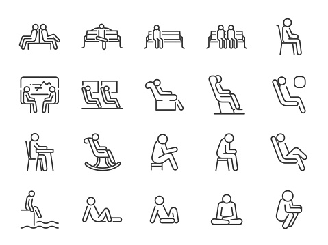 Wait icon set. Included icons as seat, sit, chair, armchair, bench and more.