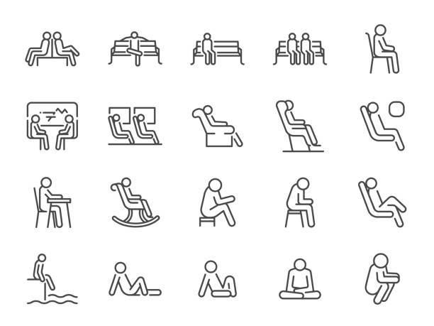 ilustrações de stock, clip art, desenhos animados e ícones de wait icon set. included icons as seat, sit, chair, armchair, bench and more. - chair