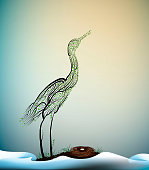 wait the spring, crane bird look like tree branches with the nest and look at the fist ray of the sun, spring beautiful composition, vector