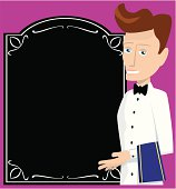 Waiter presenting a menu board. He is separate from the menu, and so is completely movable around the image. Purple background is for illustrative purposes only and is separate and removable.
