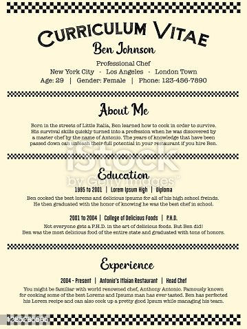 istock Waiter and Chef / Cook Job Resume or Old Curriculum Vitae Template in Clean Vintage Restaurant Style 1285265565
