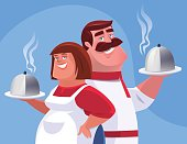 vector illustration of waiter and waitress holding disks of food